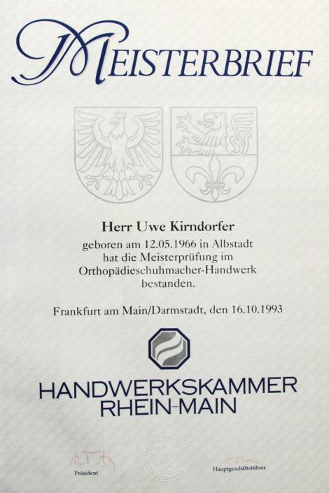 Kirndorfer Gesunde Schuhe Meisterbrief